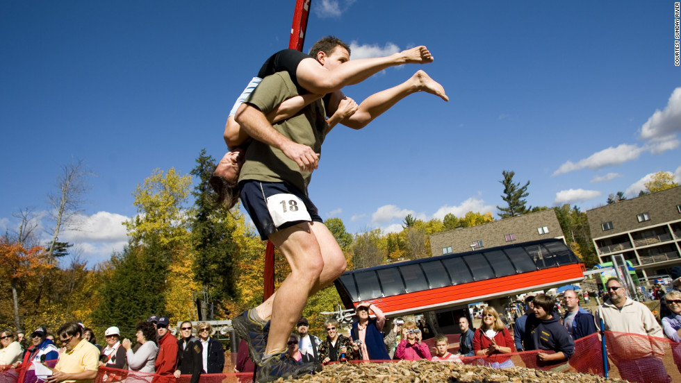 For the record, teams in the Wife Carrying Championship don't have to be married -- they simply have to have one female and one male, and the male is more than welcome to be on top.