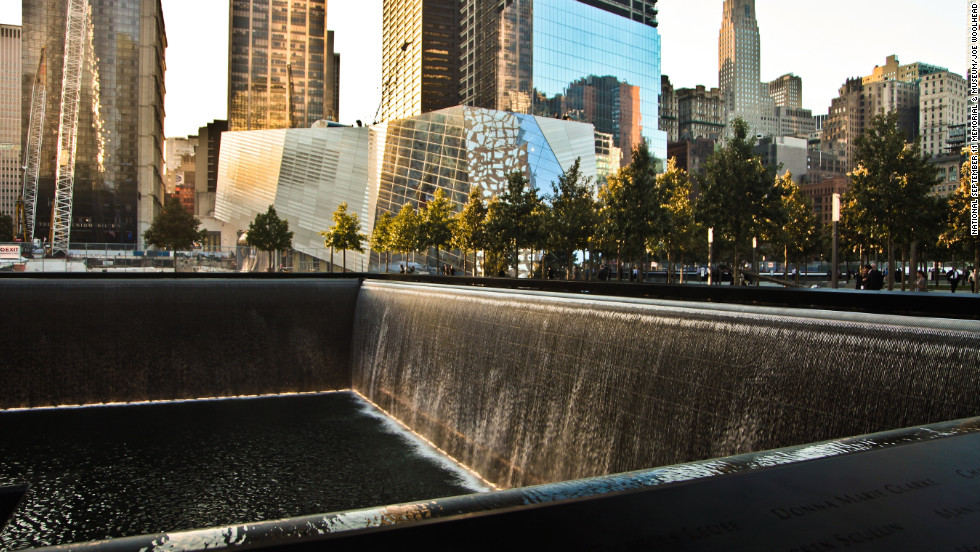 The memorial waterfalls, the largest man-made waterfalls in the country,  are located where the Twin Towers once stood.
