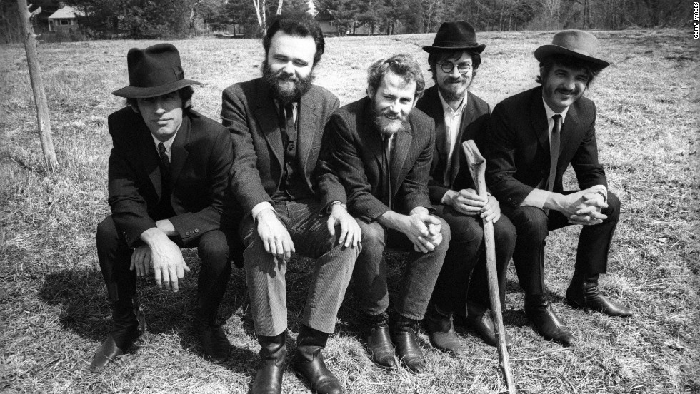 "Left to right: Richard Manuel, Garth Hudson, Levon Helm, Robbie Robertson and Rick Danko pose during a ""Music From Big Pink"" session."
