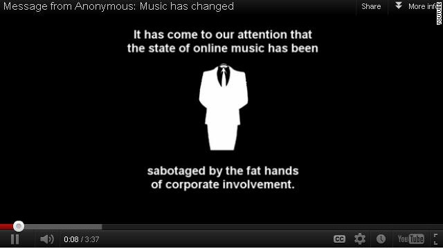 A YouTube video announcing 'Anontune' decries corporate involvement in online music.