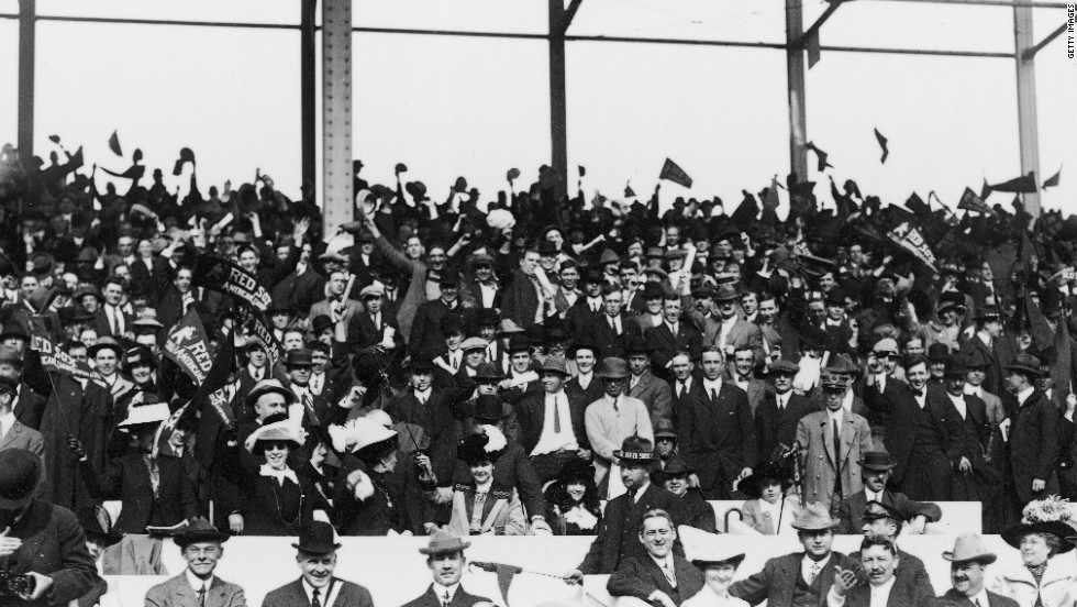 Red Sox supporters in the stands at Fenway Park before the start of the 1912 World Series.