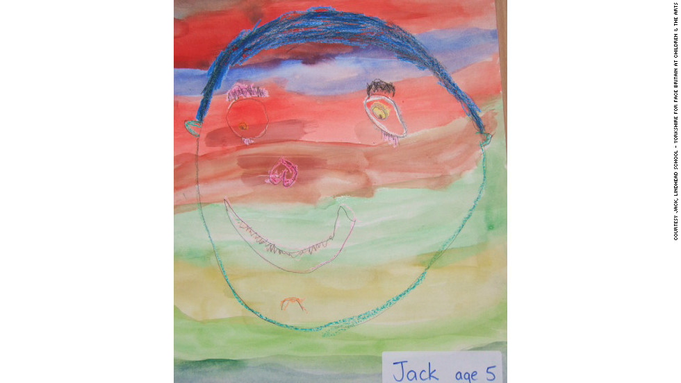 The projection at Buckingham Palace is also a record-breaking attempt of the biggest ever collaboration of artists into one piece. This self portrait is from five-year-old Jack of Lindshead School in Yorkshire, England.