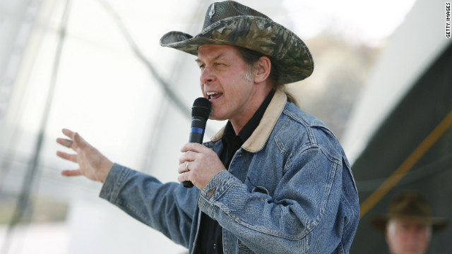 Musician Ted Nugent, shown at a GOP campaign rally in 2010, was interviewed last week by the Secret Service for his remarks about President Obama.