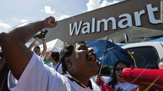 An anti-World Bank rally is held in front of a Walmart in Cancun, Mexico, in 2010.