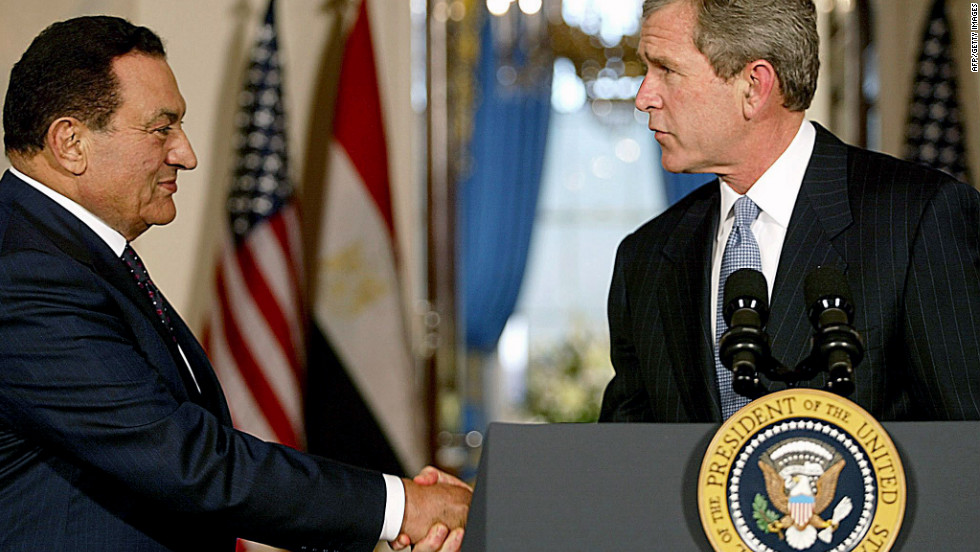 U.S. President George W. Bush greets Mubarak at the White House in 2002 to talk about the Middle East crisis and the war in Afghanistan.