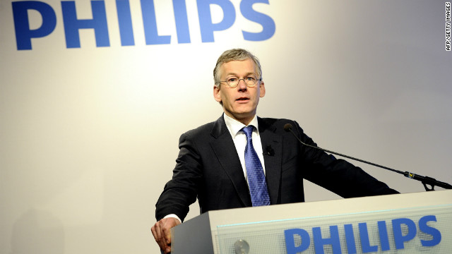Philips chief executive Frans van Houten speaks during a press conference on January 30, 2012.