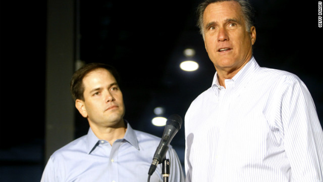 Presumptive GOP presidential nominee Mitt Romney, right, was joined on the campaign trail Monday by GOP Sen. Marco Rubio.
