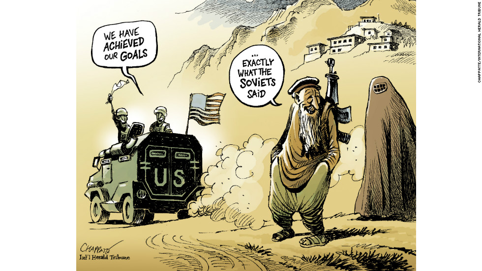 """This cartoon tries to illustrate the sad irony of an unchanged situation after years of war. It illustrates the idea that big powers come and go, but nothing changes in Afghanistan."""