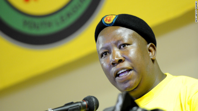 ANC Youth League leader Julius Malema delivers a speech on February 10, 2012 during a meeting in Pretoria.