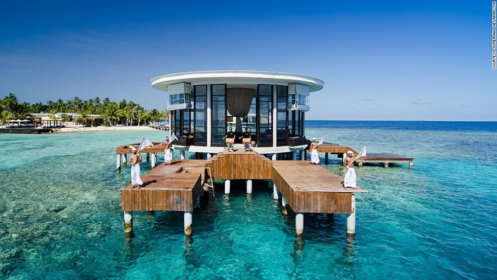 "If there were a pictographic encyclopedia of the world, this is what you'd see under the ""dream honeymoon"" entry -- a villa in the middle of Maldives' crystal clear water. Things could get even more spectacular, if this <a href=""http://edition.cnn.com/2013/06/10/travel/space-age-underwater-hotel-maldives/index.html"">underwater, space-age hotel</a> ever gets built."