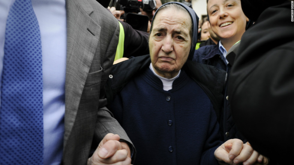 Sister Maria Gomez at a Madrid court hearing in April. She is the only person so far charged in the illegal adoption scandal that has gripped Spain.
