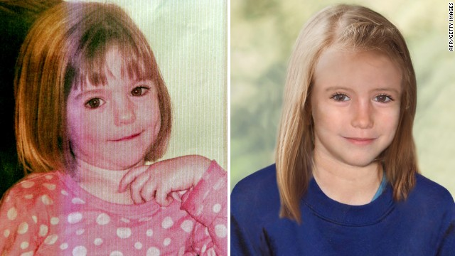 A photo of McCann when she was 3 (left) combined with a photo of how police think she might look today (right).