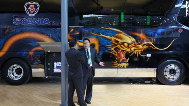 A Scania Higer bus is on display at the 2012 Beijing International Automotive Exhibition at China International Exhibition Center