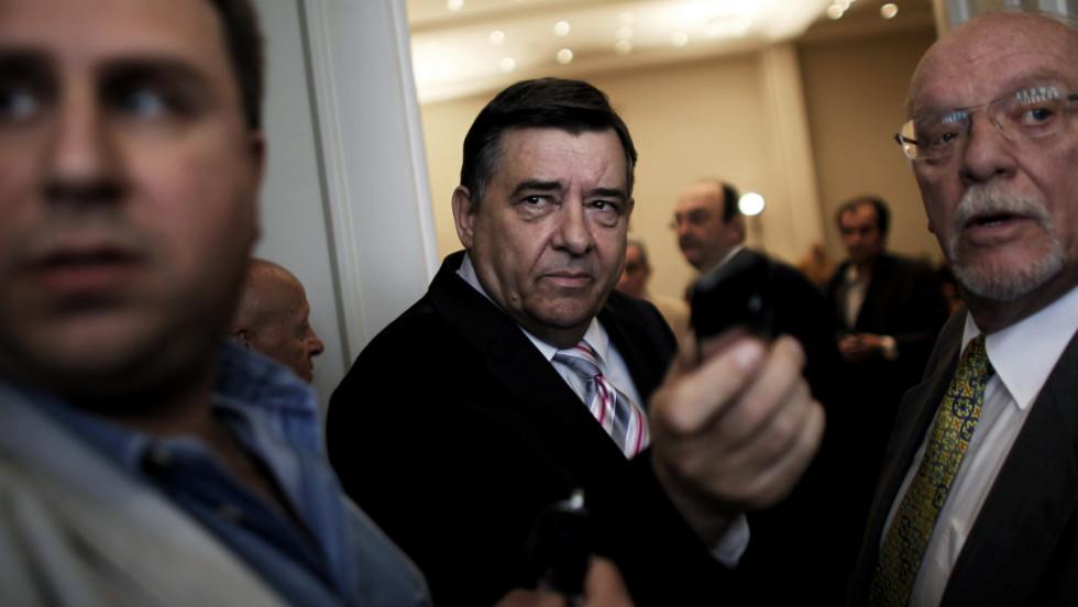 Greek far right LAOS party leader George Karatzaferis arrives for a pre-election speech at the Zappeion Hall in Athens on April 23, 2012. Smaller parties have enjoyed a surge as disenchanted voters turn away from the main parties.