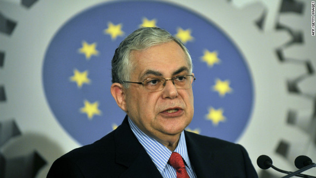 Greek Prime Minister Lucas Papademos speaks during a conference organised by the European Commission on promoting growth through small and medium-sized businesses, in an Athen on April 20, 2012.