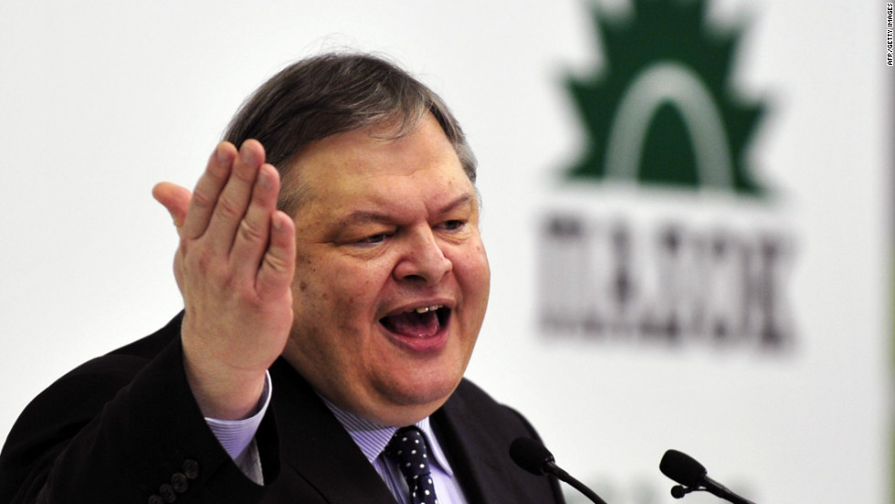 Greek socialist PASOK party leader Evangelos Venizelos speaks at a election campaign rally in an indoor stadium in Athens on April19, 2012.