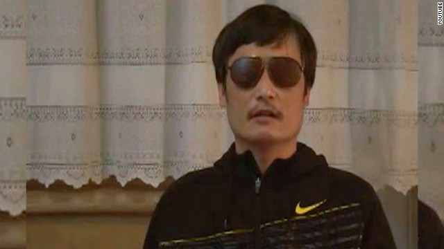 Human rights activist Chen Guangcheng appearing in a YouTube video after he escaped from house arrest.
