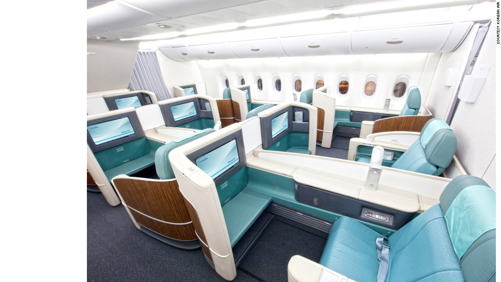 The suites on Korean Air contain personalized storage compartments, reading lights and wide-screen TVs.