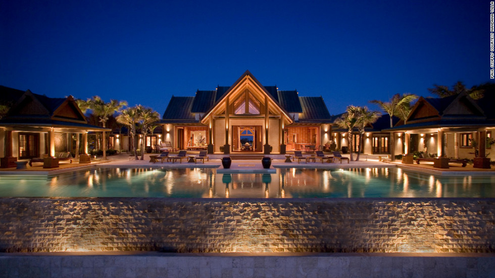 "The 20,000-square-foot Nandana is on five private acres of Bahamian beachfront and has a 120-foot-long infinity pool that anchors five luxurious suites.<a href=""http://www.departures.com/slideshows/worlds-most-opulent-villas/6?cnn=yes"" target=""_blank"">See more opulent villas at Departures.com</a>"