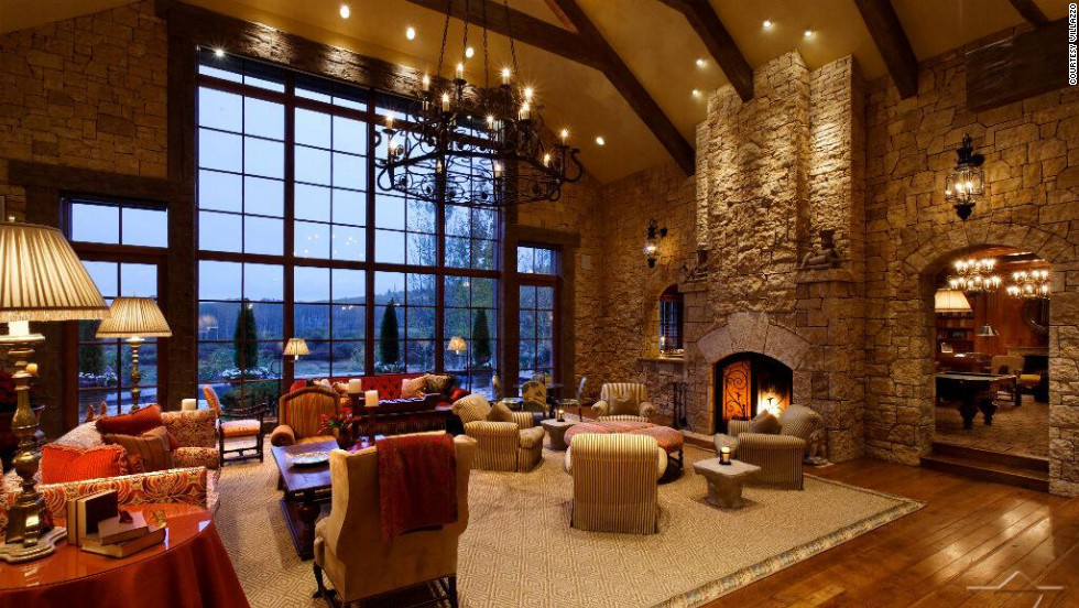 The 17,000-square-foot, six-bedroom mountain lodge has views over the terrain of Aspen's Red Mountain from nearly every window.