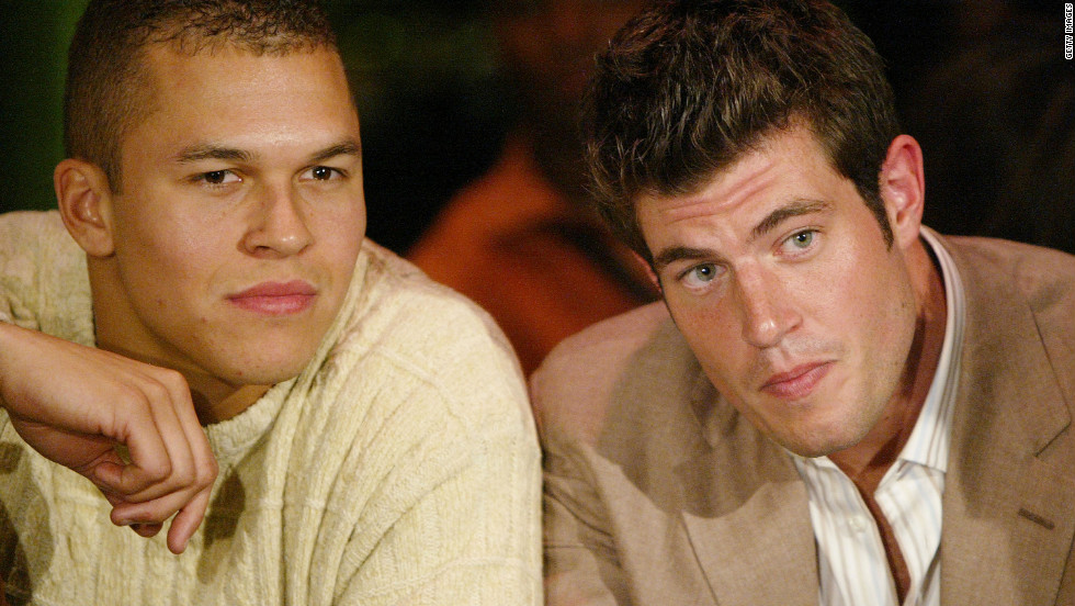 "Ryan Hoag, left, was picked last by the Oakland Raiders as a wide receiver in 2003. He's shown in 2004 at a viewing party for ""The Bachelor"" with Jesse Palmer. Hoag was a contestant on season four of the ABC reality show ""The Bachelorette"" in 2008."