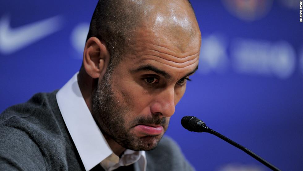 When he confirmed he was to end his four-year reign as Barcelona coach, Guardiola gave an emotional press conference.