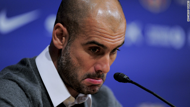 Barcelona's coach Josep Guardiola gives a press conference in Barcelona on April 27, 2012. Pep Guardiola is leaving the club, ending a four-year reign over one of the greatest eras in club football, the club president announced Today