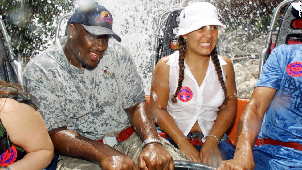 "Ahmad Miller, the defensive tackle dubbed ""Mr. Irrelevant"" in 2002, rides the Grizzly River Run at Disney's California Aventure after he was drafted by the Houston Texans. He was cut before the final preseason game."