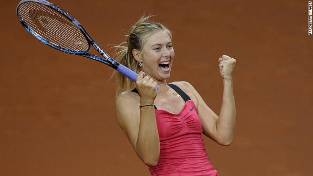 Maria Sharapova cannot contain her delight as she seals victory over world No.1 Victoria Azarenka in Stuttgart on Sunday