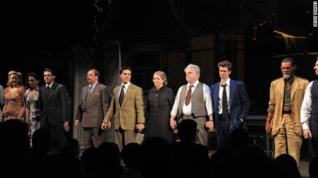 "Cast members of ""Death of a Salesman"" take a curtain call at their Broadway opening on March 15 in New York City."