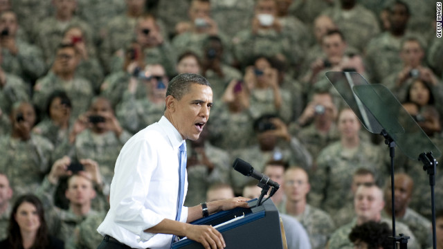 President Barack Obama addresses troops at Fort Campbell, Kentucky, on May 6, 2011, days after the Osama bin Laden raid.
