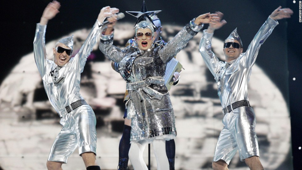 "Drag act Verka Serduchka of Ukraine finishes second in the 2007 competition with the song ""Dancing Lasha Tumbai."""