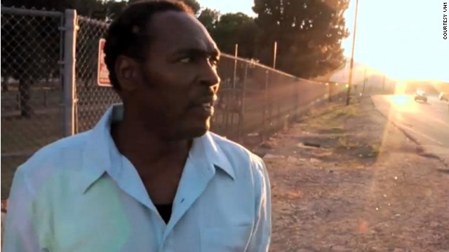 "In the film ""Uprising"" Rodney King visits the site where he was beat by Los Angeles police."