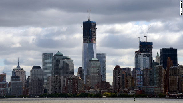 One World Trade Center, or the Freedom Tower, dominates the Lower Manhattan skyline.