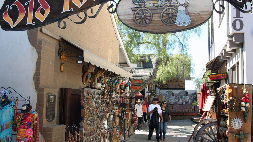 San Diego's Old Town is made up of preserved and restored adobe and wooden buildings.