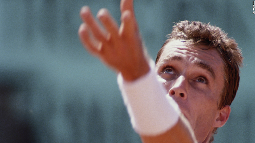 World No.1 Ivan Lendl serves to Michael Chang during their extraordinary fourth round match at the French Open in 1989.