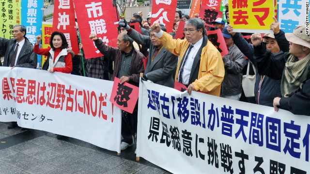 Okinawans protest recently the plan to move a U.S. military base to another part of the island