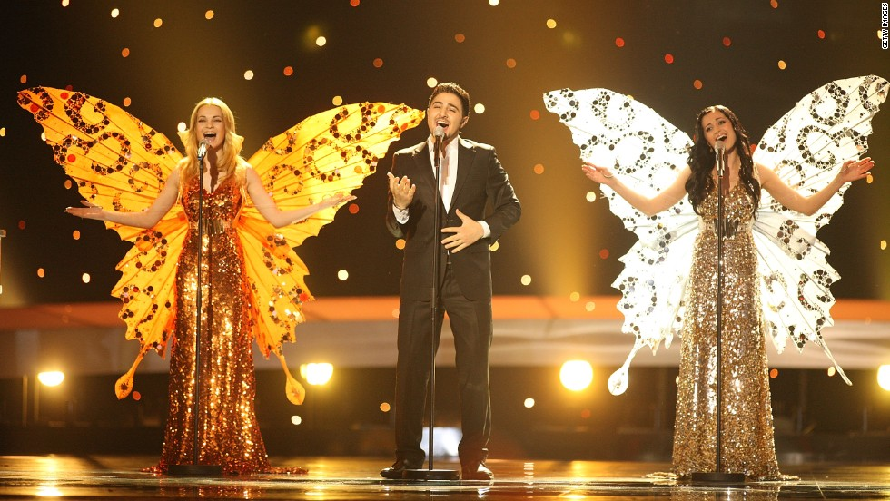"Members of the Belarus group 3+2 sprouted butterfly wings for the climactic key change in their song ""Butterflies."" The group finished second to last in 2010."
