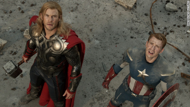 "Chris Hemsworth, left, stars as Thor and Chris Evans stars as Captain America in ""The Avengers."""