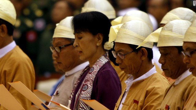 Aung San Suu Kyi takes office