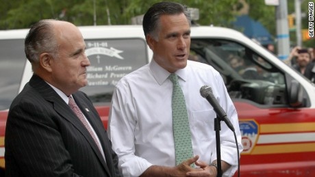 Presumptive GOP presidential nominee Mitt Romney was joined by former NYC Mayor Rudy Giuliani at  NYC firehouse on Tuesday.
