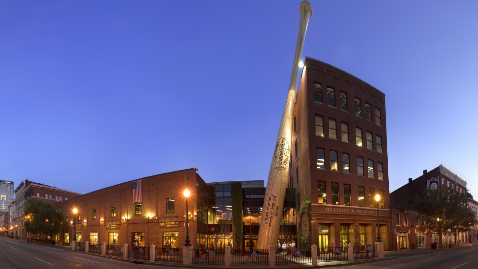 The world's largest bat marks the home of the Louisville Slugger Museum & Factory.