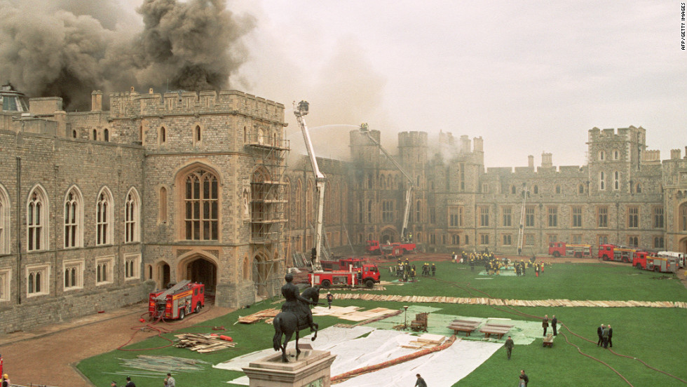 "The year 1992 was a bad one for the royal family.  In addition to the three royal marriage breakdowns, a fire wreaks havoc in Windsor Castle causing major structural damage. The queen would later describe this year as ""annus horribilis."""