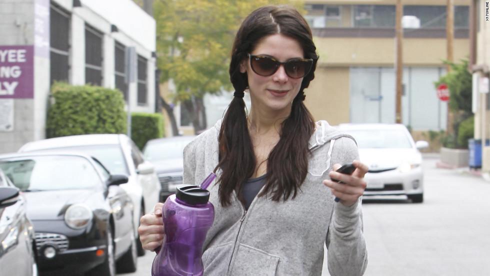 Ashley Greene leaves the gym.