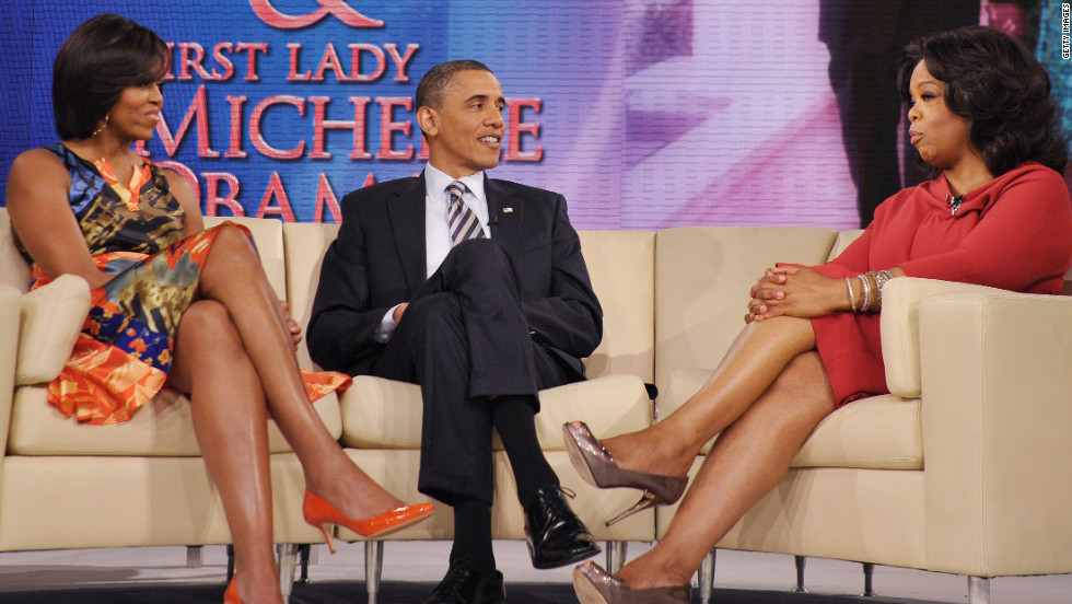 Oprah Winfrey interviews the president and first lady Michelle Obama on April 27, 2011, at Harpo Studios in Chicago. They talked about the release of his birth certificate.