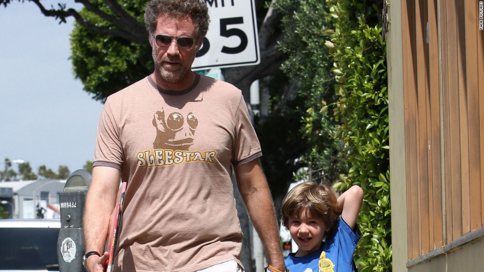 Will Ferrell walks with his son in West Hollywood.