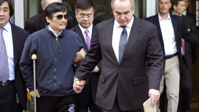Chinese activist Chen Guangcheng leaves the U.S. embassy Wednesday for medical treatment at a Beijing hospital.