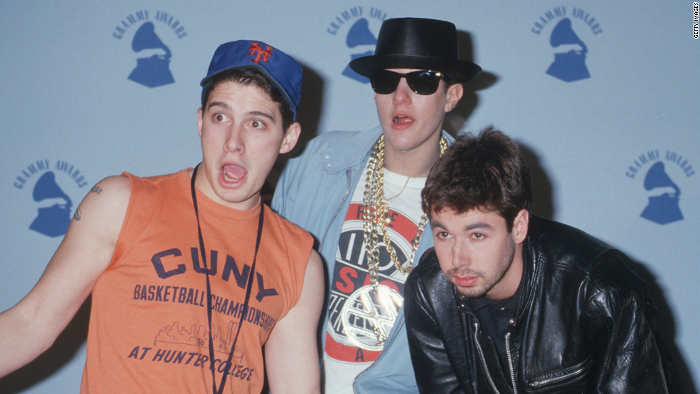 Horovitz, left, Diamond and Yauch pose at the Shrine Auditorium in Los Angeles.