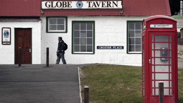 STANLEY, FALKLAND ISLANDS - FEBRUARY 02: A man walks near the Globe pub on February 2, 2007 in Stanley, Falkland Islands. The United Kingdom will commemorate 25 years since the 1982 Argentine invasion of the Falkland Islands with ceremonies throughout the year. (Photo by Peter Macdiarmid/Getty Images)