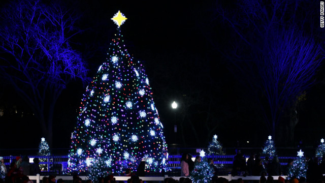 The Colorado blue spruce, shown here after it was lit on Dec. 1, 2011, was removed early Saturday from the White House grounds.